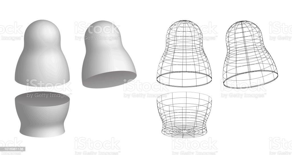 Branco em branco e malha com fios vazios russo boneca matryoshka maquete de nidificação. Símbolo da Rússia. Lembrança de brinquedo babushka. Ilustração em vetor 3D isolada no fundo branco. - ilustração de arte em vetor