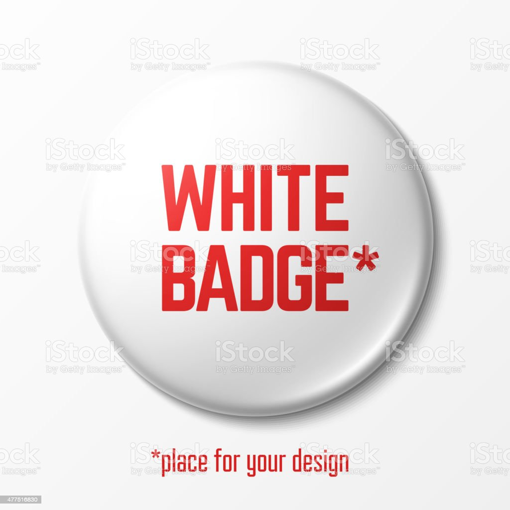 Blank white badge vector art illustration