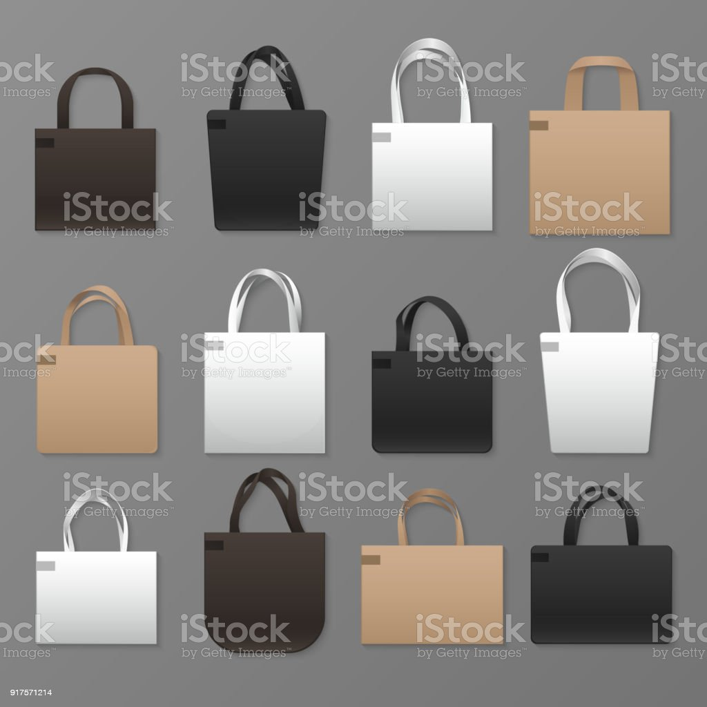 Blank White Black And Brown Canvas Shopping Bag Templates Vector ...