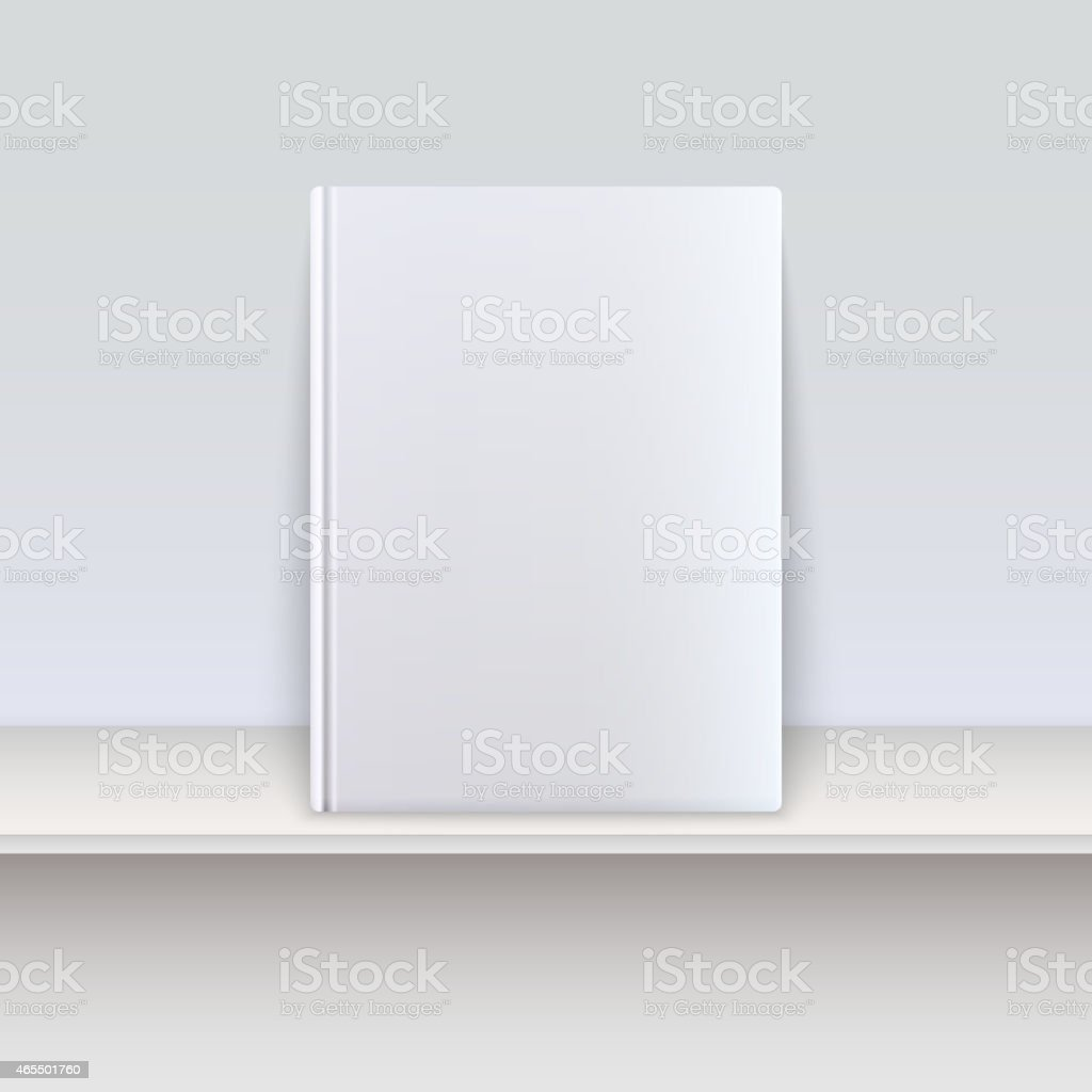 A blank white book cover on a shelf vector art illustration