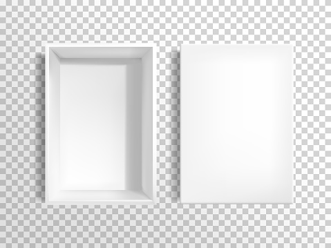 Blank white cardboard box with lid vector
