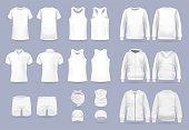 istock Blank white collection of men's clothing templates. Realistic vector mock up shirt 1206716297