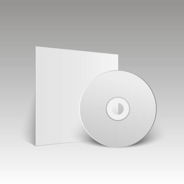 ilustrações, clipart, desenhos animados e ícones de em branco disco compacto branco. mock-se. disco de cd. ilustração em vetor. - cd