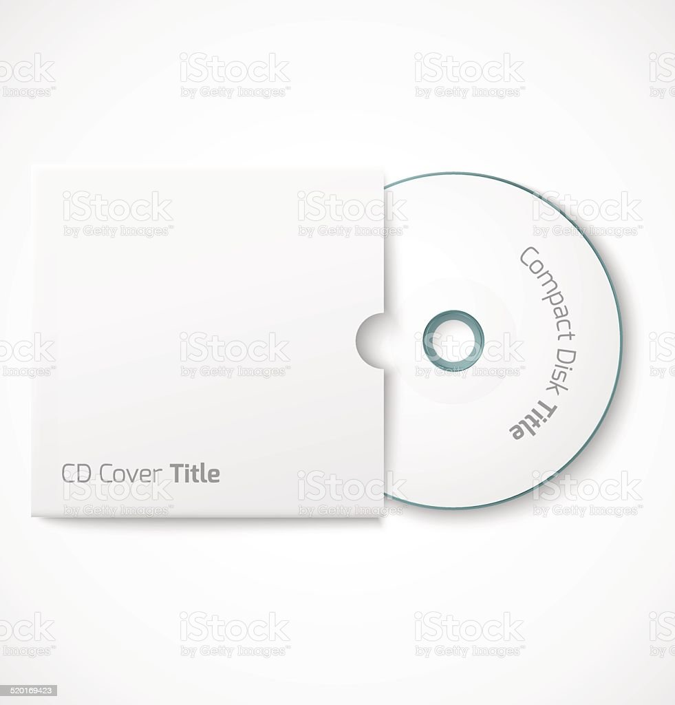 Blank white compact disk with cover mock up template. vector art illustration