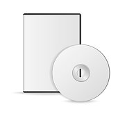 Blank white compact disk with cover on wooden table and concrete wall background. Mock up. CD disk. Vector illustration.