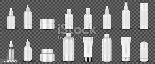 Tubos cosméticos blancos en blanco sobre fondo transparente. Envases cosméticos blancos crema de manos, champú, perfume, jabón líquido, aerosol, botella de loción. Vector