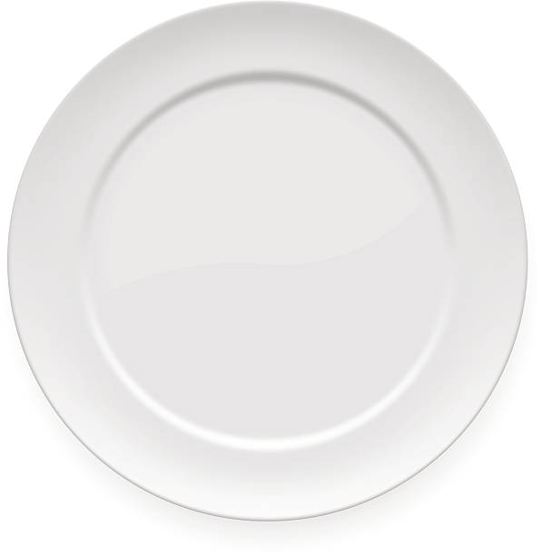 stockillustraties, clipart, cartoons en iconen met blank white dinner plate - bord serviesgoed