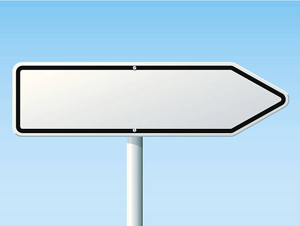 Blank White Direction Right Arrow Road Sign Vector Illustration of a blank directional Road Sign in front of a clear blue sky: Direction to the right. All objects are on separate layers. The colors in the .eps-file are ready for print (CMYK). Transparencies used. Included files: EPS (v10) and Hi-Res JPG. transportation stock illustrations