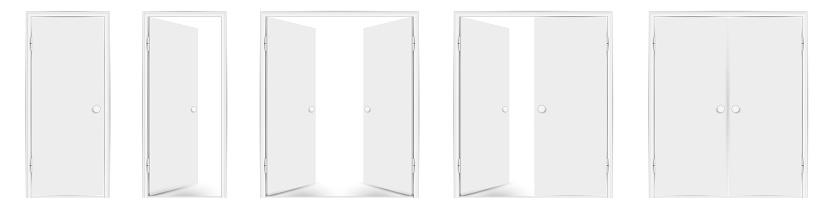 Blank white doors mock up set. Vector illustration