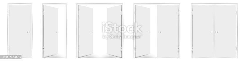 Blank white doors mock up set. Vector illustration. Open and closed, single and double doors. Round doorhandles.