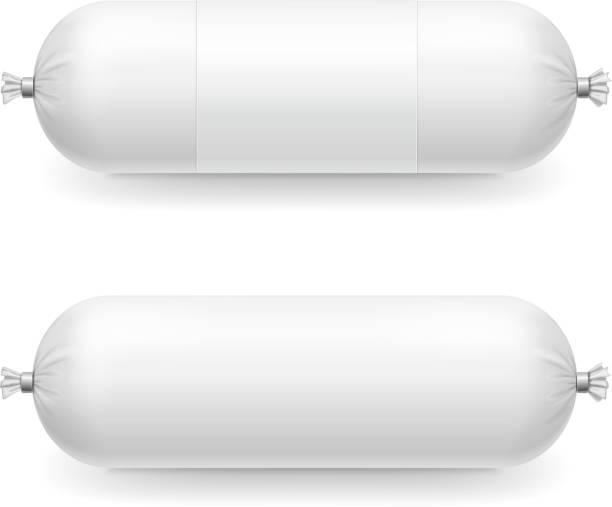 leer leer kunststoff weißwurst-paket - vakuumverpackung stock-grafiken, -clipart, -cartoons und -symbole