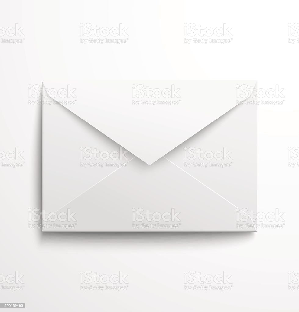 Blank white envelope with shadow vector art illustration