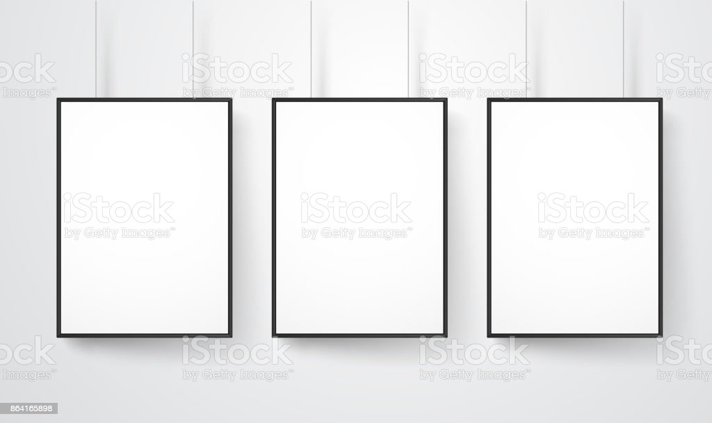 Blank white frames on the wall vector mockup. Ready for a content royalty-free blank white frames on the wall vector mockup ready for a content stock vector art & more images of advertisement
