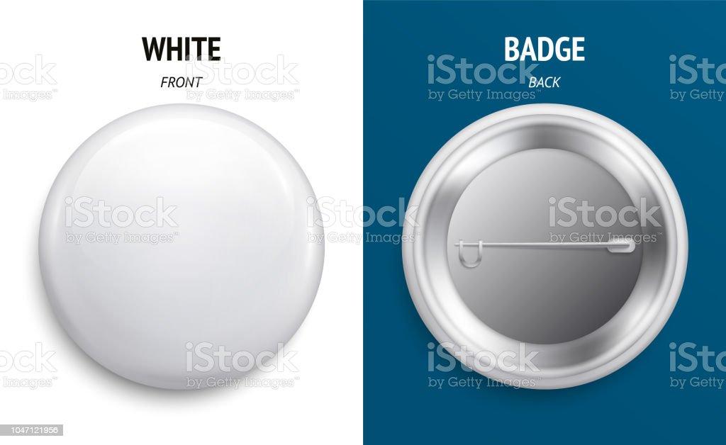 空白白色光澤徽章或按鈕。3d 渲染。圓形塑膠別針, 徽章, 志願者標籤。正面和反面。向量。 - 免版稅一個物體圖庫向量圖形