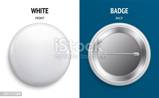 Blank white glossy badge or button. 3d render. Round plastic pin, emblem, volunteer label. Front and Back Side.