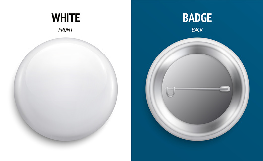 Blank white glossy badge or button. 3d render. Round plastic pin, emblem, volunteer label. Front and Back Side. Vector.
