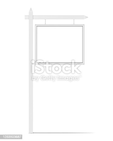 Blank white hanging signboard, vector mock-up. Empty street outdoor sign, mockup for design.