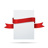 Blank white label invitation card with red ribbon