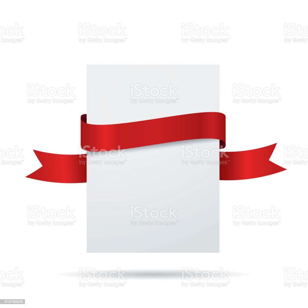 Blank white label with red ribbon vector art illustration