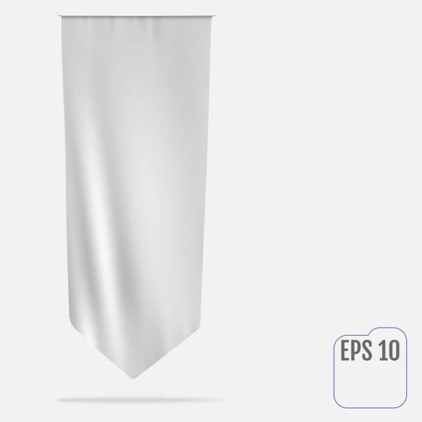Blank white long mockup pennant flag vector art illustration