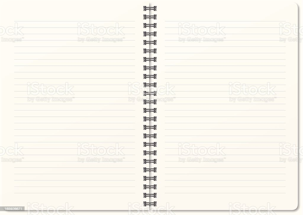A blank white notebook with spring in the middle vector art illustration