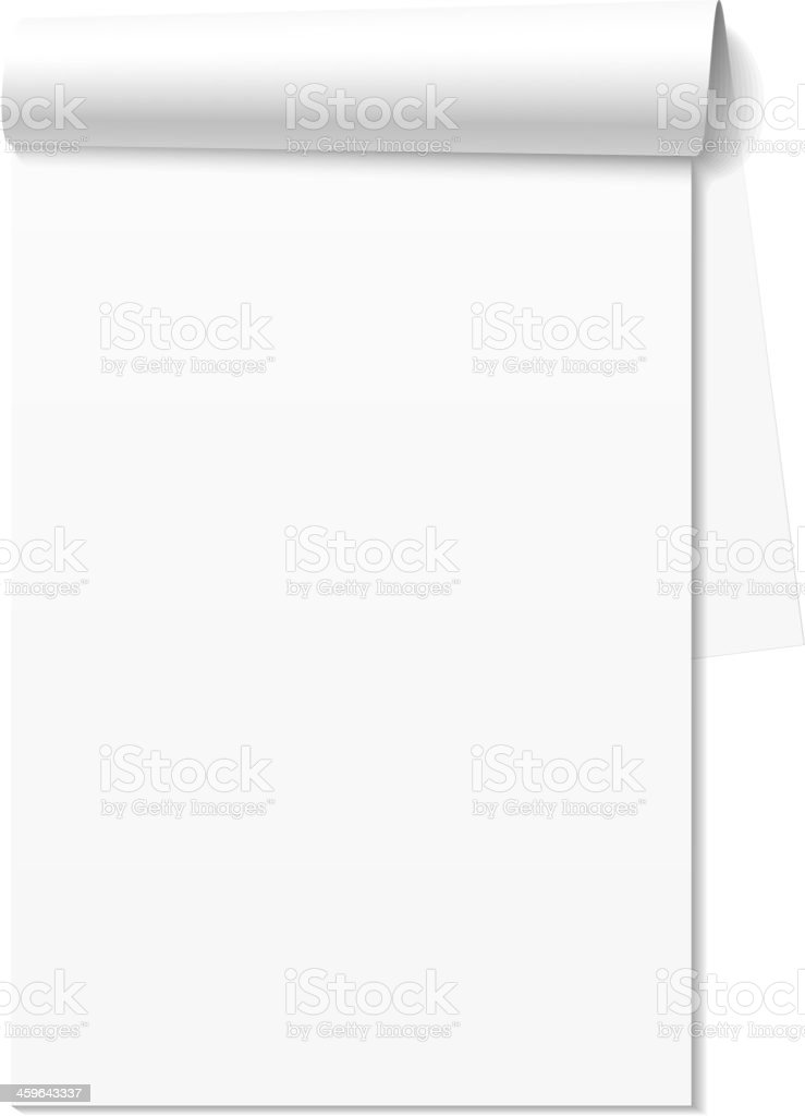 Blank white notepad, notebook vector art illustration