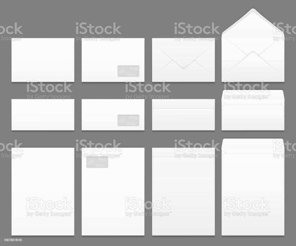 Blank White Paper Envelopes Vector Templates Set Vecteurs Libres