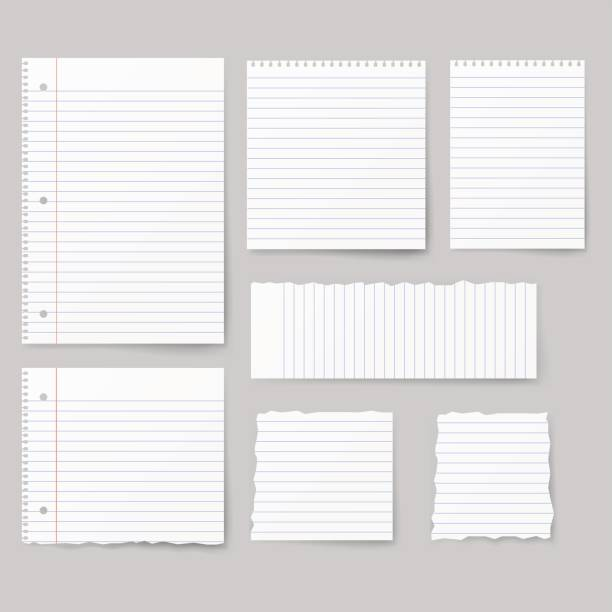 blank white paper, note paper isolated on background. - lined paper stock illustrations