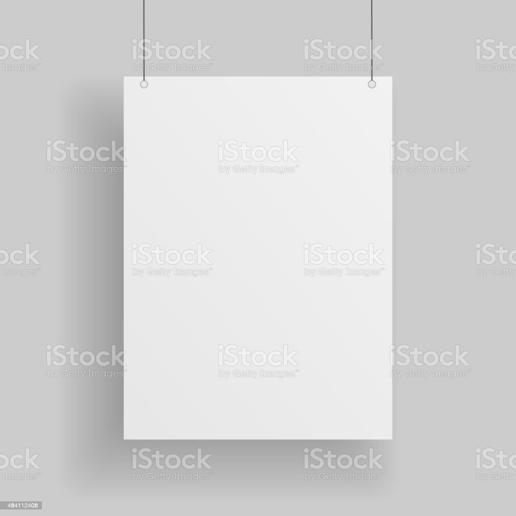Blank white paper Page hanging against grey Background vector art illustration