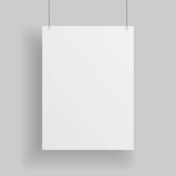 leeres weißes papier seite hängen vor grauem hintergrund - strickideen stock-grafiken, -clipart, -cartoons und -symbole