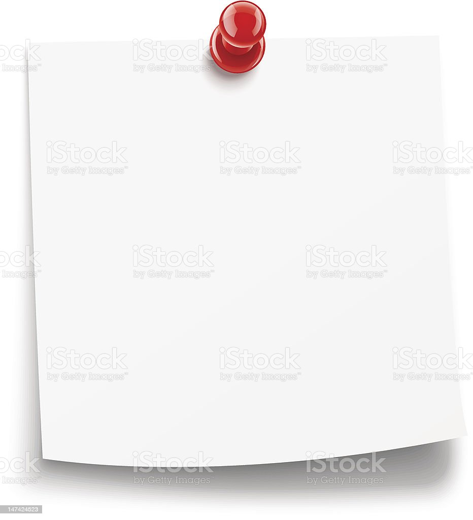 Blank white paper with red pin vector art illustration