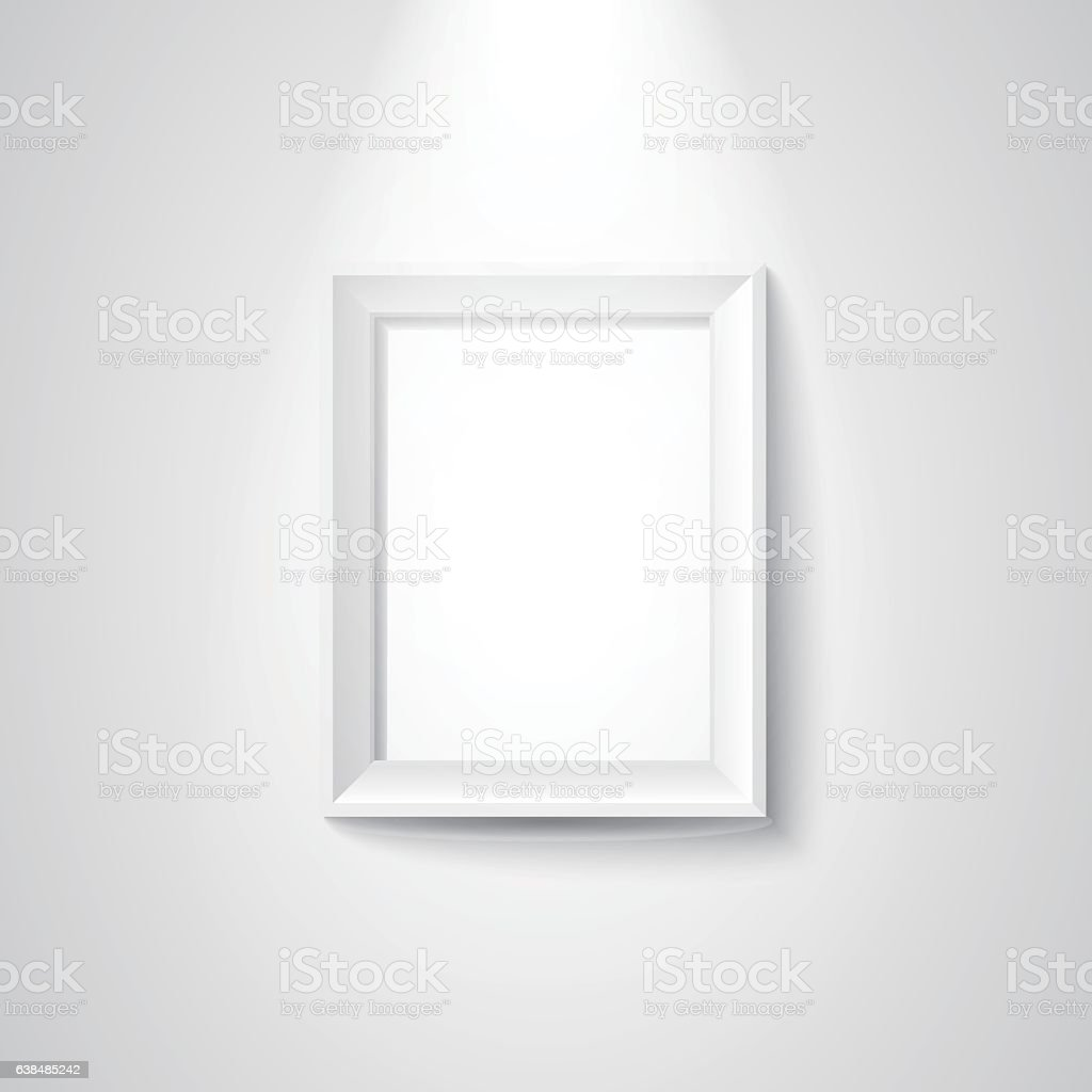 Blank white picture frame with spotlights vector art illustration