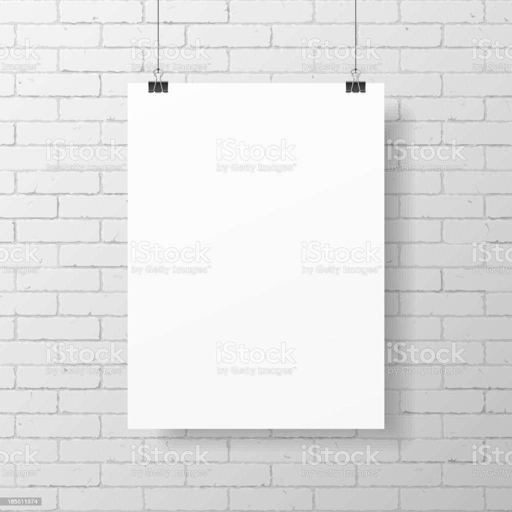 Blank white poster on brick wall vector art illustration