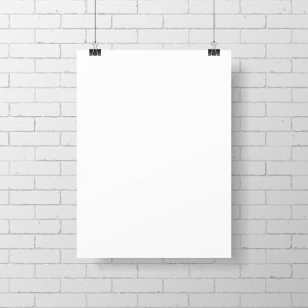 Blank White Poster On Brick Wall Vector Art Illustration