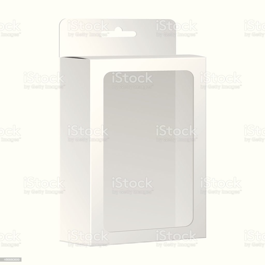 Blank White Product Package Box With Window. Vector vector art illustration
