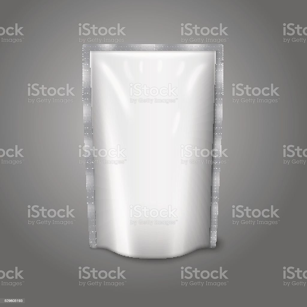 Blank white realistic plastic pouch isolated on grey background with vector art illustration