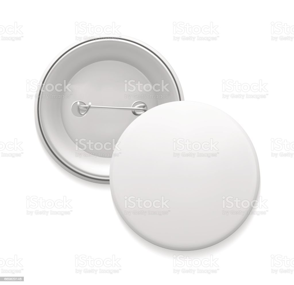 Blank white round pin vector art illustration
