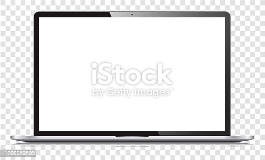 istock Blank white screen laptop isolated 1266659893
