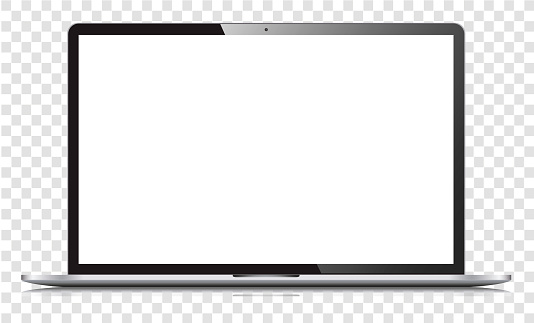 Blank white screen laptop isolated