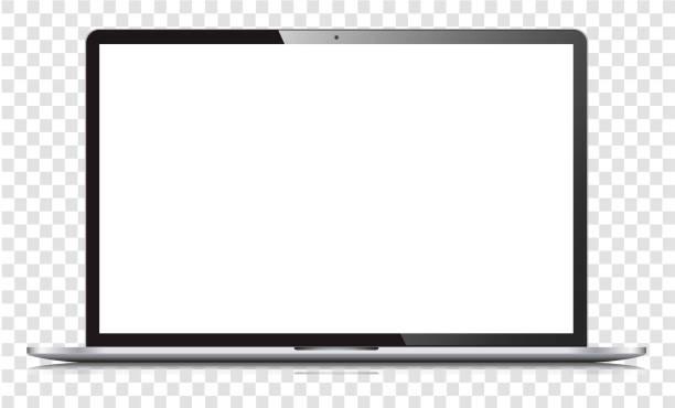 Blank white screen laptop isolated vector art illustration