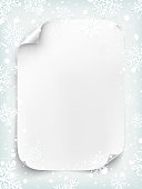 Blank white sheet of paper on winter background.