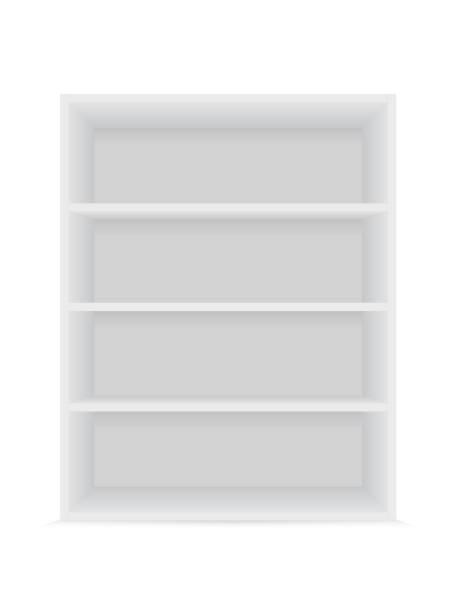leere weiße regale 1 - kastenständer stock-grafiken, -clipart, -cartoons und -symbole