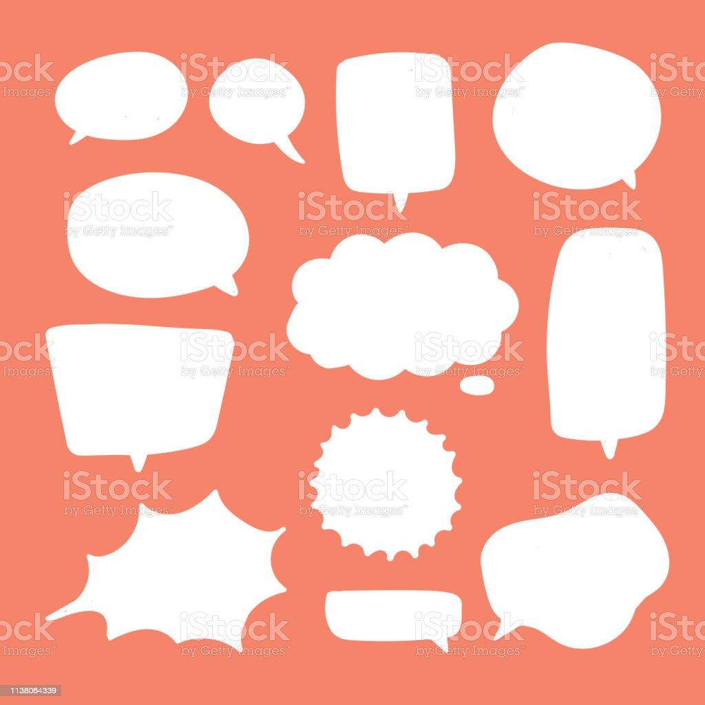 空白白色語音氣泡。思考氣球談話冒泡聊天評論雲漫畫復古喊聲音形狀。 - 免版稅一組物體圖庫向量圖形