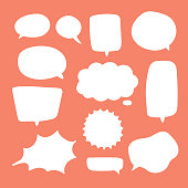 Blank white speech bubbles. Thinking balloon talks bubbling chat comment cloud comic retro shouting voice shapes.