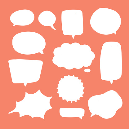 Blank White Speech Bubbles Thinking Balloon Talks Bubbling Chat Comment Cloud Comic Retro Shouting Voice Shapes Stock Illustration - Download Image Now
