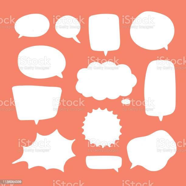 空白白色語音氣泡思考氣球談話冒泡聊天評論雲漫畫復古喊聲音形狀向量圖形及更多一組物體圖片