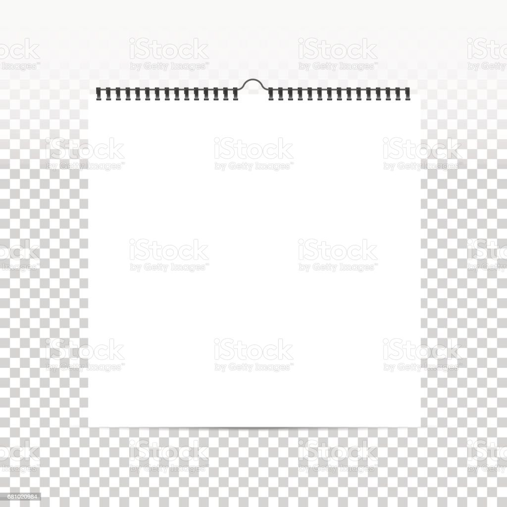 blank white square calendar template vector mock up with spiral on transparent background royalty