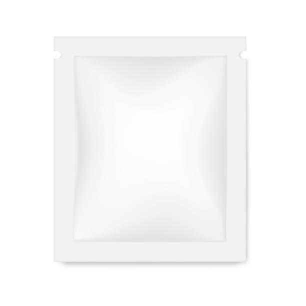 Blank white square sachet package, vector mockup. Food, medical or cosmetic product packaging, mock-up Blank white square sachet package, vector mockup. Food, medical or cosmetic product packaging, mock-up specimen holder stock illustrations