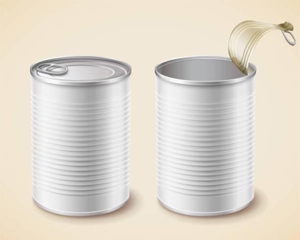 ilustrações de stock, clip art, desenhos animados e ícones de blank white tin mockup - latão