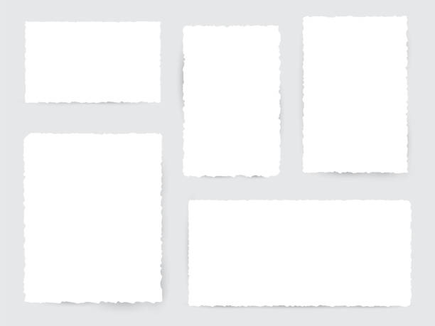 blank white torn paper pieces - at the edge of stock illustrations